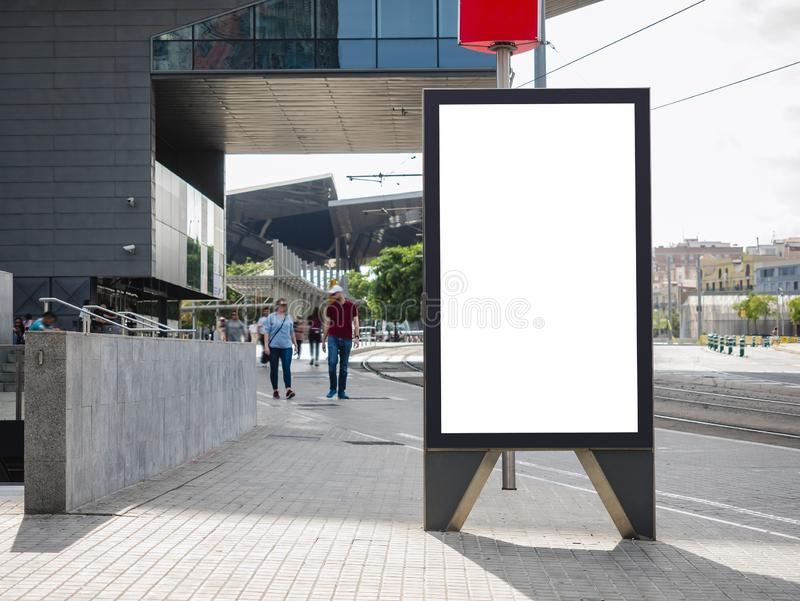 Mock up Banner stand Media Advertisement outdoor People walking on City street stock photo