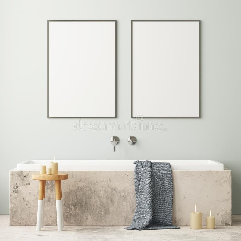 Free Mock Up Bathroom In A Modern Style 3d Stock Photos - 113324853
