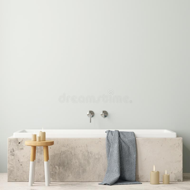 Free Mock Up Bathroom In A Modern Style 3d Royalty Free Stock Photo - 113324855
