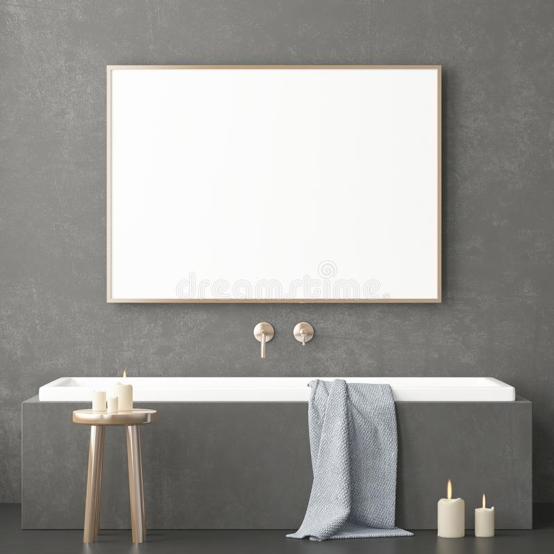 Free Mock Up Bathroom In A Modern Style 3d Royalty Free Stock Image - 113324886