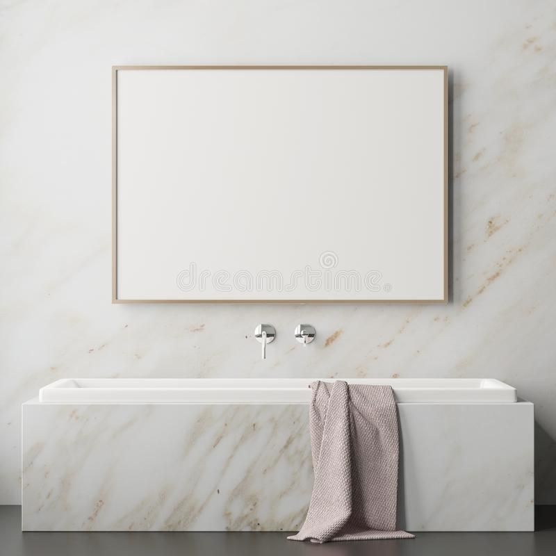 Free Mock Up Bathroom In A Modern Style 3d Royalty Free Stock Photography - 113324887