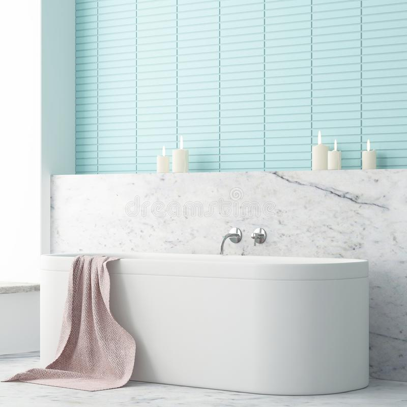 Free Mock Up Bathroom In A Modern Style 3d Royalty Free Stock Photography - 113325477