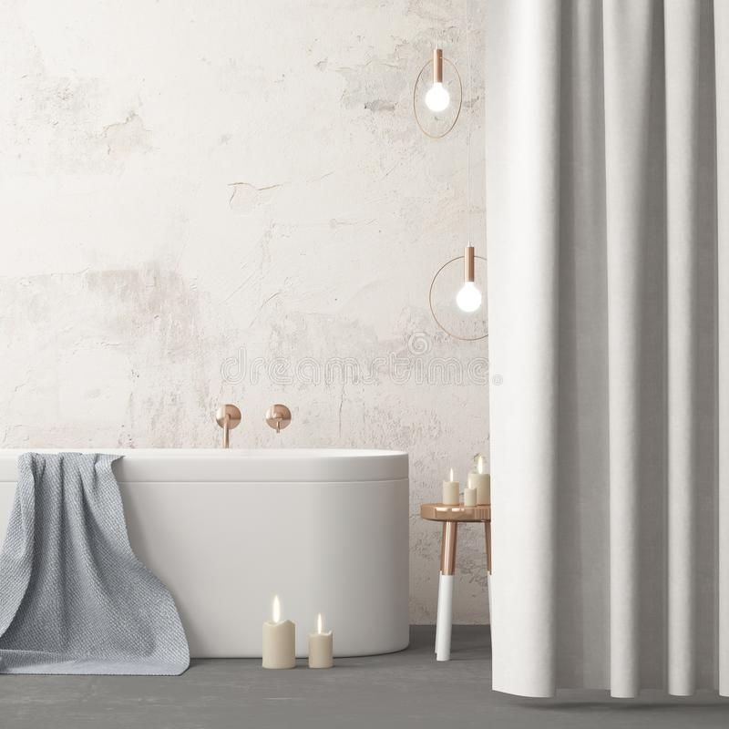 Free Mock Up Bathroom In A Modern Style 3d Stock Image - 113325821
