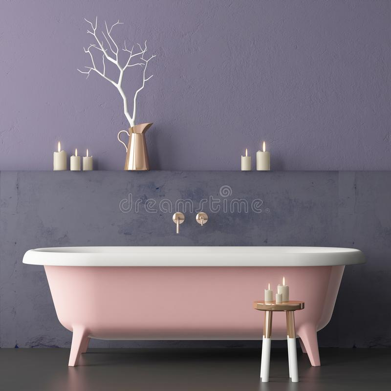 Free Mock Up Bathroom In A Modern Style 3d Royalty Free Stock Photo - 113376775