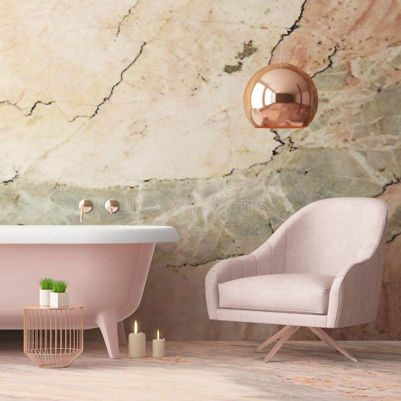 Free Mock Up Bathroom In A Modern Style 3d Royalty Free Stock Photography - 113376807