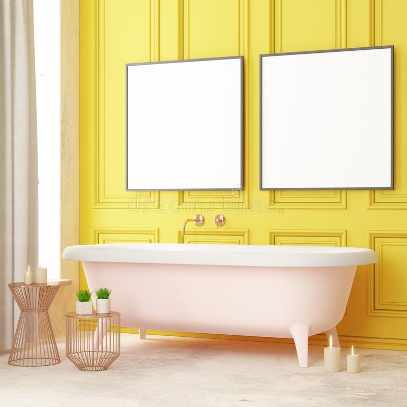 Free Mock Up Bathroom In A Modern Style 3d Stock Photography - 115477282