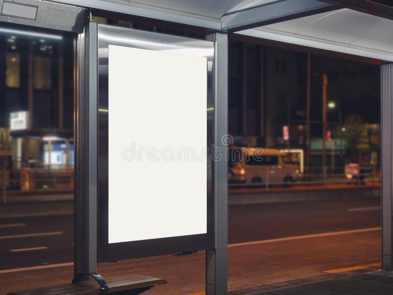 Mock up Billboard Banner szablon na Bus stop Media Adversiege Outdoor City Street zdjęcia royalty free