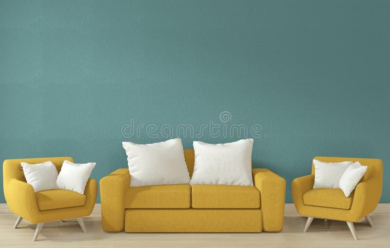 Mock-up - Binnenposter zet blauw ontwerp van de woonkamer op 3D-rendering stock illustratie