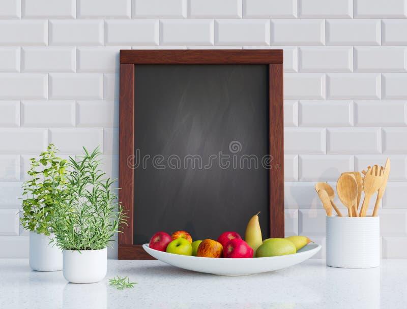 Mock up blackboard frame in the kitchen. 3D render. Mock up blackboard frame with herbs and fruits in the kitchen. 3D render image stock illustration