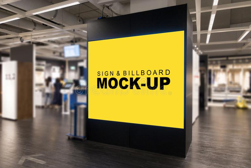 Mock up blank advertising billboard at mall royalty free stock photos