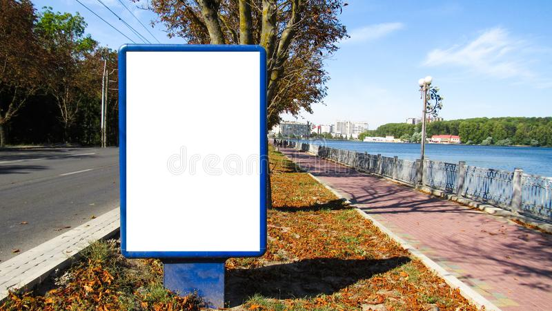 Mock up of blank advertising light box in the city. white advertising space for text royalty free stock photography