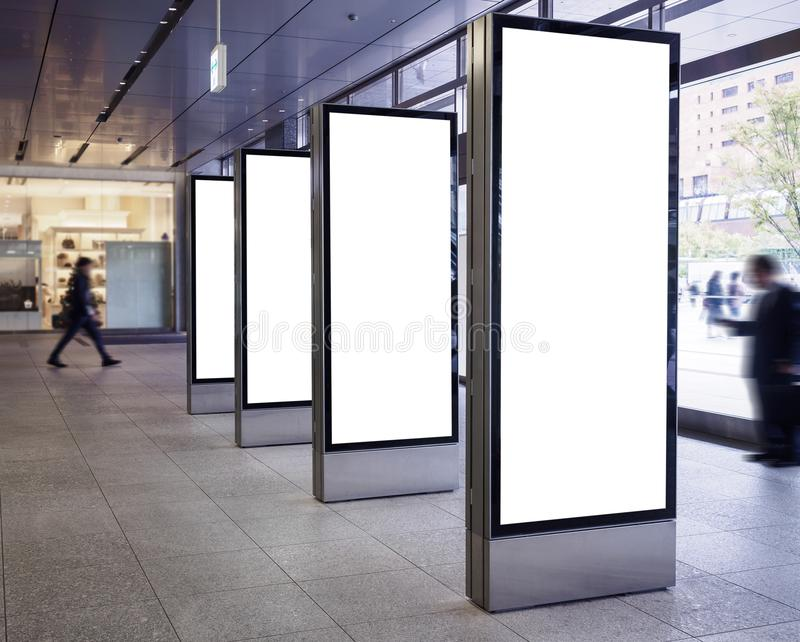 Mock up Blank Banners display in Public Building with People stock images