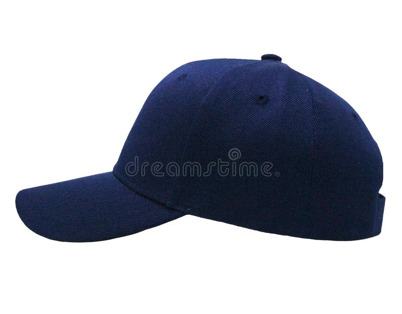Mock up blank baseball color navy cap closeup of side view stock image