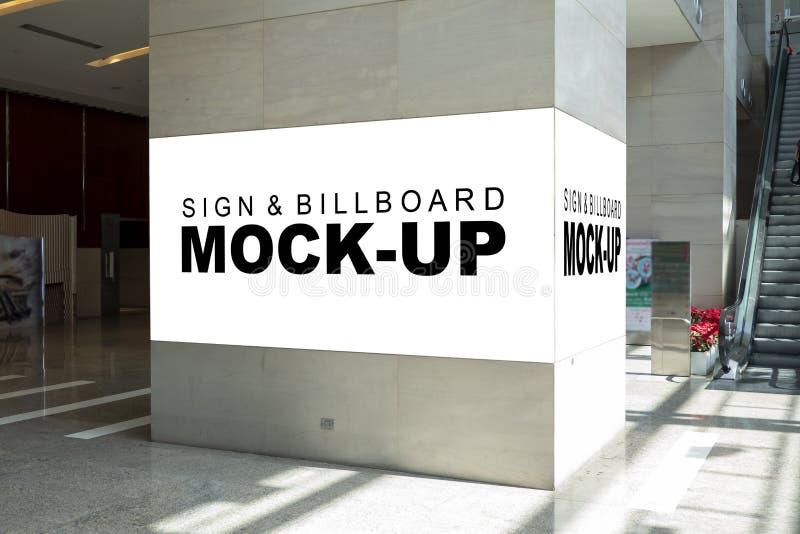 Mock Up Blank Billboard Advertising Near Escalator Stock Photo