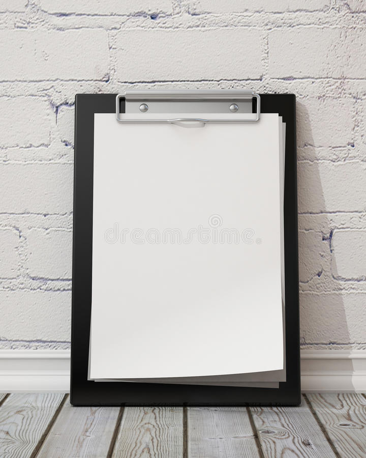 Mock up blank black clipboard on the white brick wall and the vintage wooden floor, background royalty free illustration