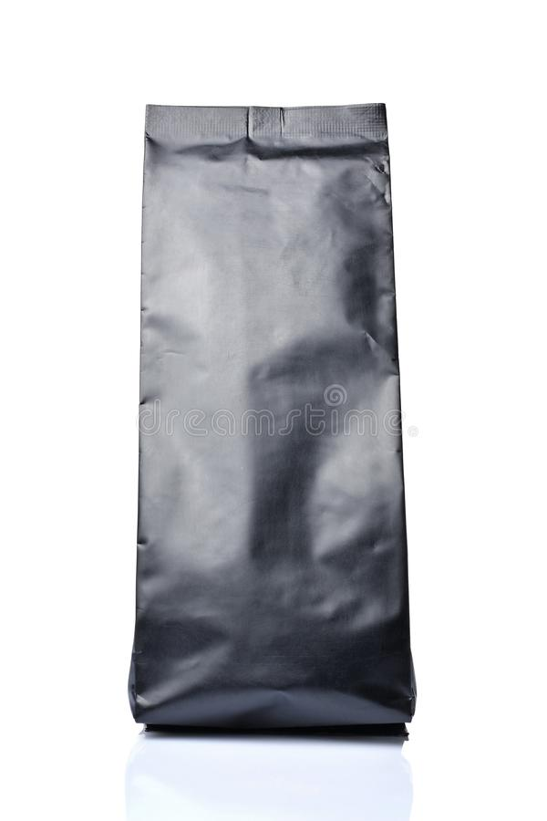 Mock-up of blank black foil coffee or tea bag stock photo