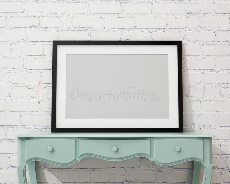 Mock up blank black picture frame on the white desk and wall, background. Blank black picture frame on the white desk and wall, background, template design stock illustration