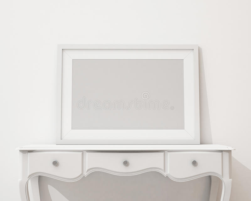 Mock up blank black picture frame on the white desk and wall, background. Blank black picture frame on the white desk and wall, background, template design vector illustration