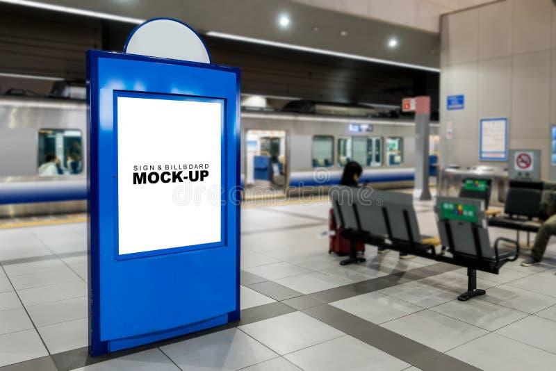 Mock up blank blueboard train station Platform stock images