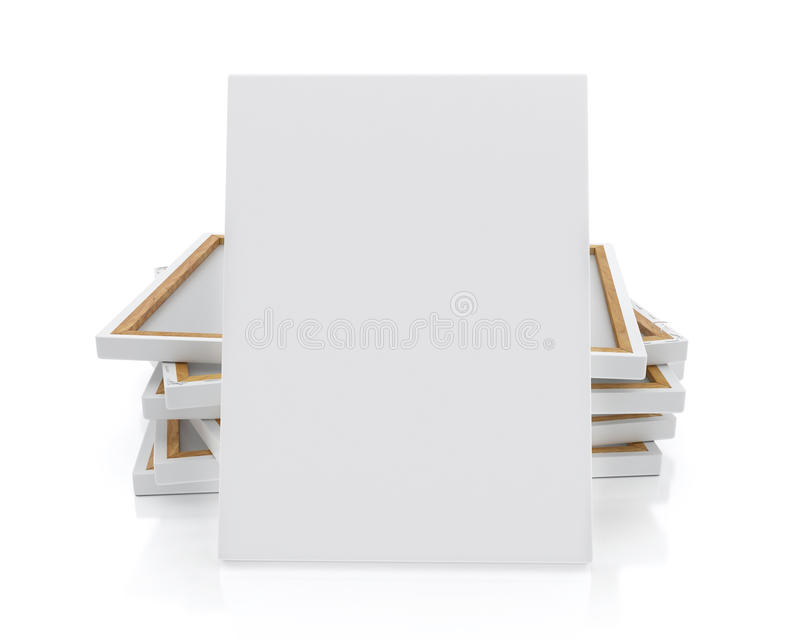 Mock Up Blank Canvas Or Poster With Pile Of Canvas On Floor