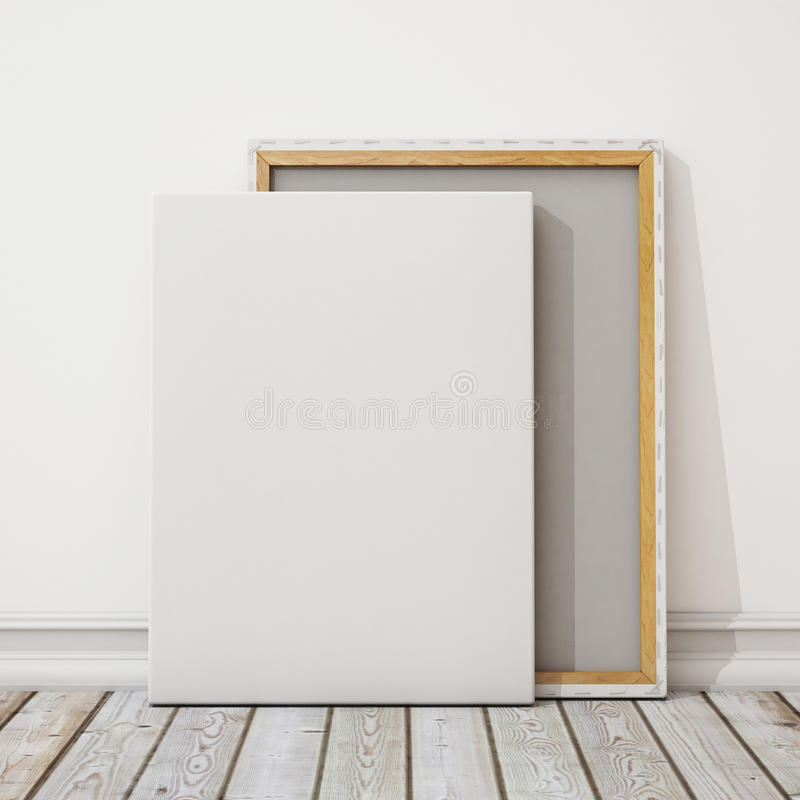 Mock Up Blank Canvas Or Poster With Pile Of Canvas On Floor And Wall Background Stock