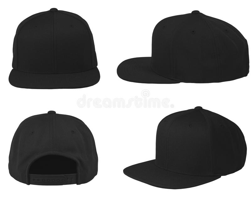 Mock up blank flat snap back hat black isolated view set royalty free stock images