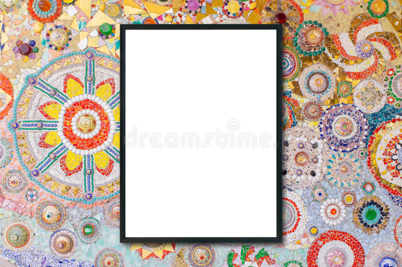 Mock up blank frame hanging on wall in room stock photography