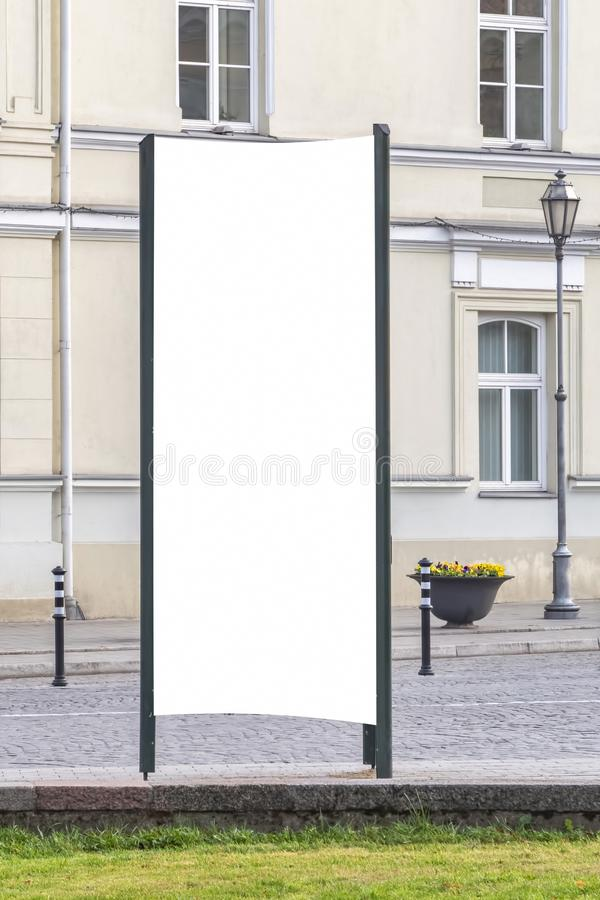 Mock up. Blank outdoor advertising column outdoors, public information board in the street. Mock up. Blank outdoor advertising column outdoors, public royalty free stock photography