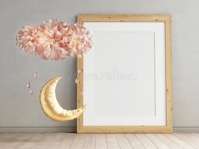 Mock up of blank photo frames on plastered walll, scandinavian minimalism childroom interior with balls in the form of the moon stock images