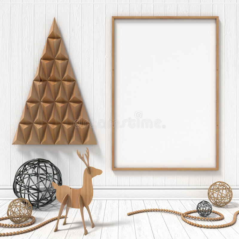 Mock up blank picture frame, Christmas decoration. 3D render stock photography