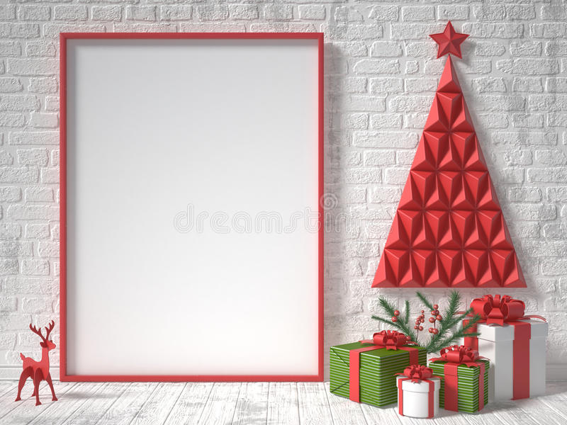 Mock up blank picture frame, Christmas decoration and gifts. 3D render stock photo