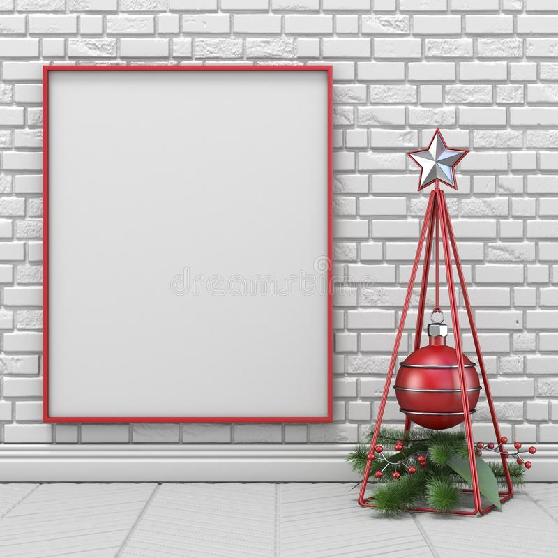 Mock up blank picture frame, Christmas decoration wireframe pyramid and decoration ball 3D stock illustration