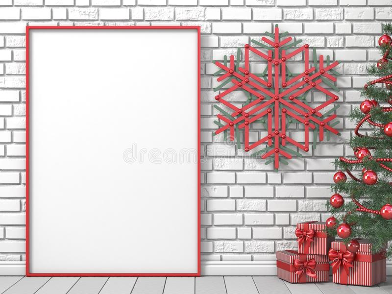 Mock up blank picture frame, Christmas tree, popsicle sticks snowflakes and striped gifts 3D stock illustration