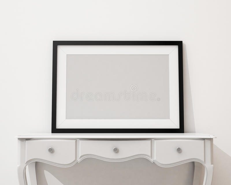 Mock up blank picture frame on the white desk and wall, background. Blank picture frame on the white desk and wall, background, template design stock illustration