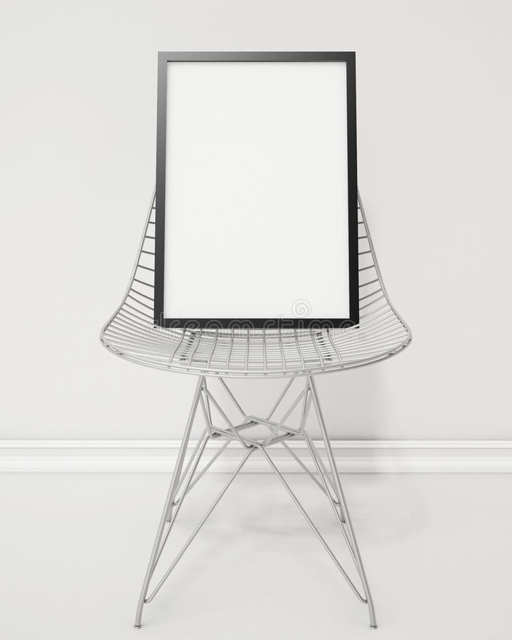 Mock up blank poster with black frame on the wire chair, background royalty free illustration