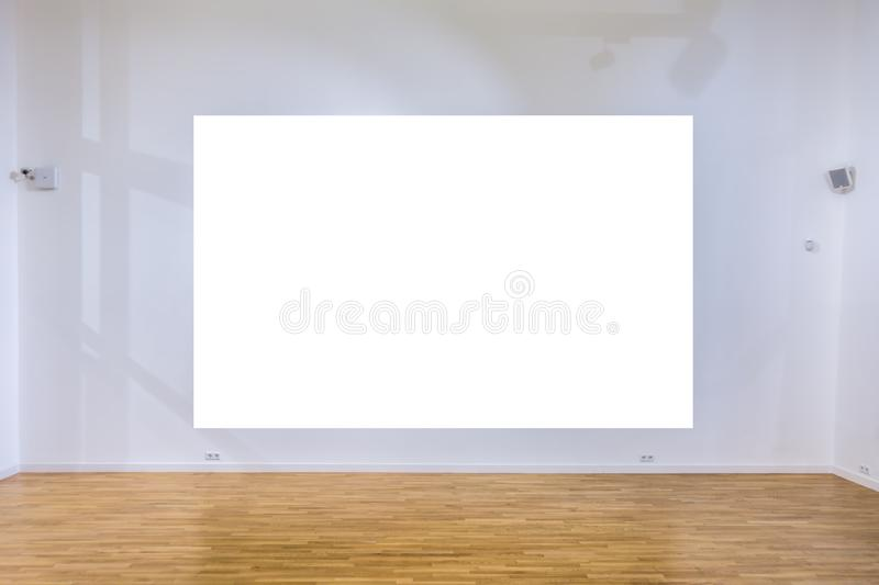 Mock up blank poster on the wall in gallery interior. Mock up blank poster in gallery interior royalty free stock images