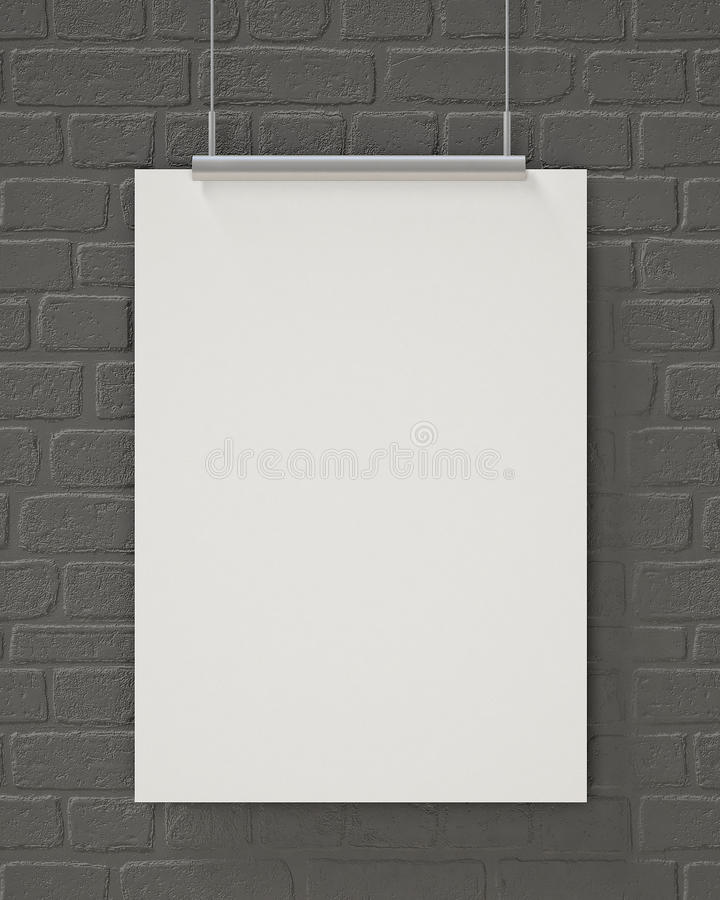 Mock up blank poster hanging on the gray brick wall, background. Blank poster hanging on the gray brick wall, background, mock up design stock images
