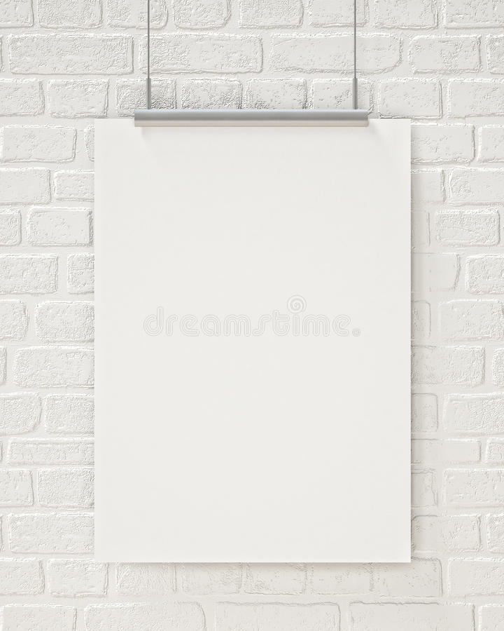 Mock up blank poster hanging on the white brick wall, background. Blank poster hanging on the white brick wall, background, mock up design royalty free stock photos