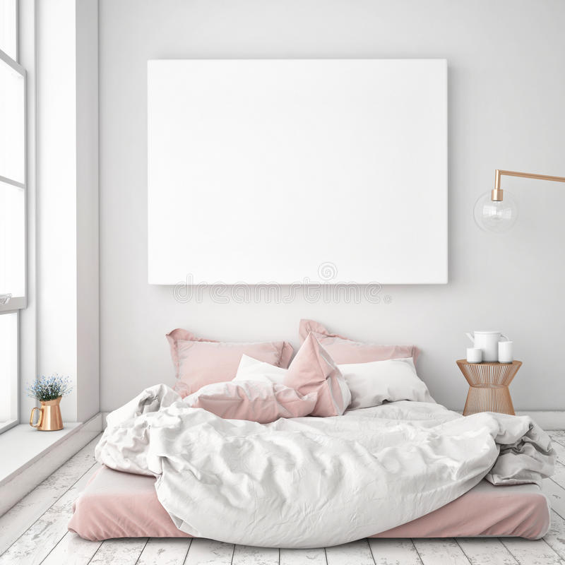 Free Mock Up Blank Poster On The Wall Of Bedroom Stock Photos - 67016923