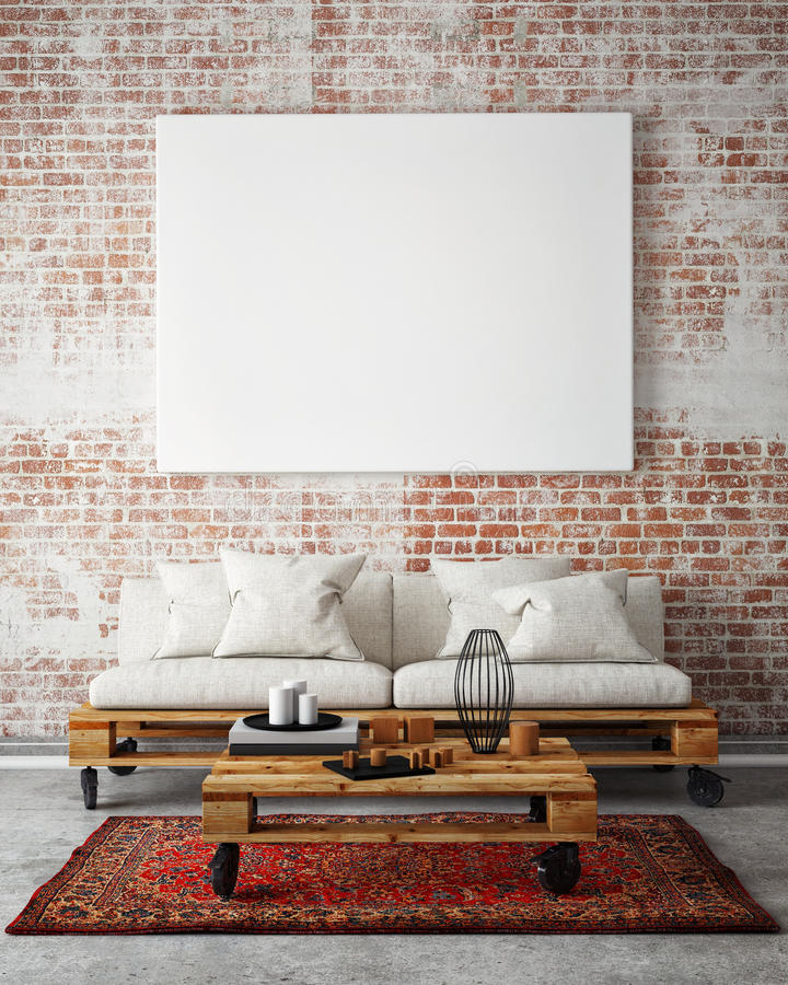 Free Mock Up Blank Poster On The Wall Of Livingroom, 3D Illustration Stock Image - 62311861