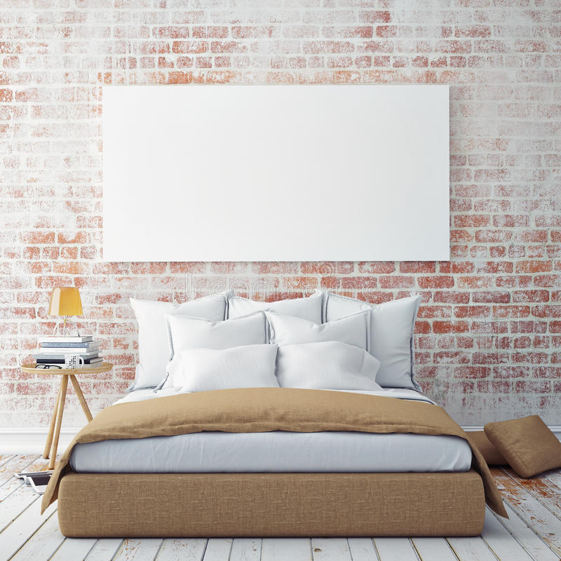 Mock up blank poster on the wall of bedroom, stock illustration