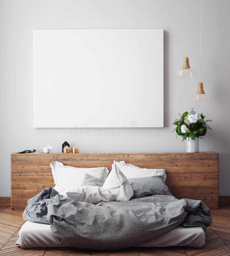 Mock up blank poster on the wall of bedroom,. 3D illustration background