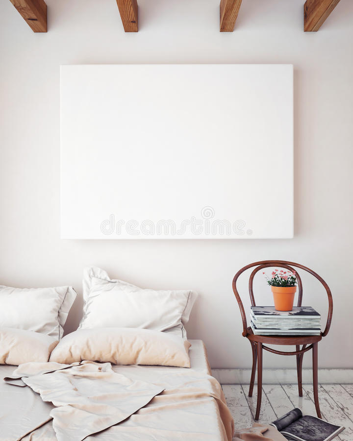 Mock up blank poster on the wall of bedroom, 3D illustration background, royalty free illustration
