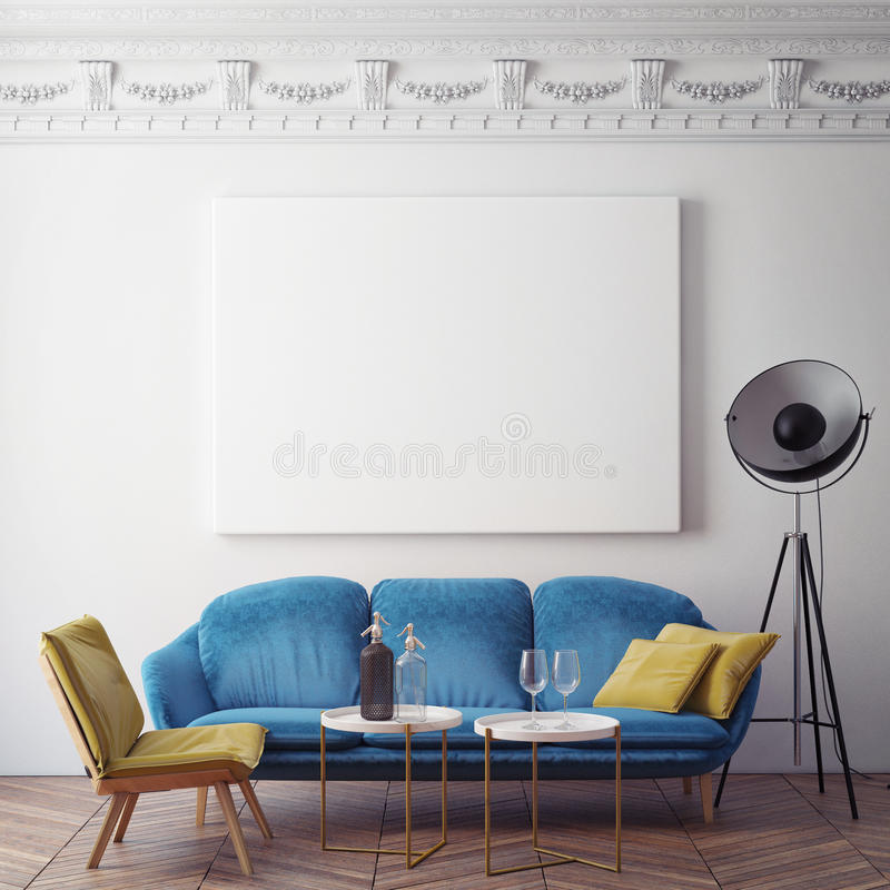 Mock up blank poster on the wall of bedroom, 3D illustration background, vector illustration