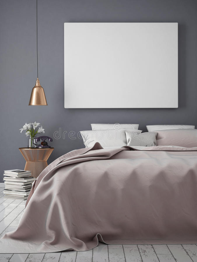 Mock up blank poster on the wall of bedroom,. 3D rendering royalty free stock photos