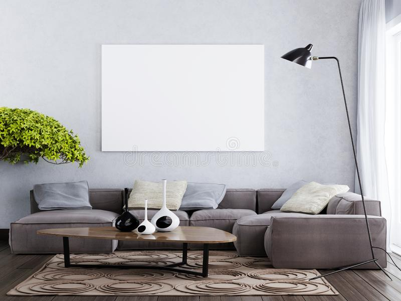 Mock up blank poster on the wall contemporary interior style. The brown and gray tone. 3D render vector illustration