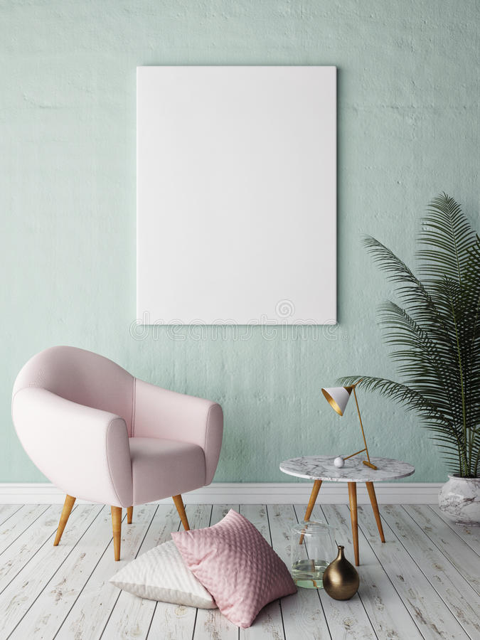 Mock up blank poster on the wall of hipster living room stock images