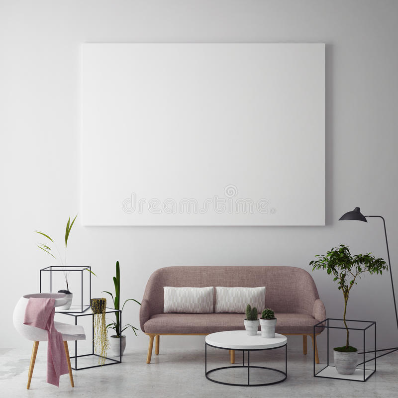 Mock up blank poster on the wall of hipster living room royalty free illustration