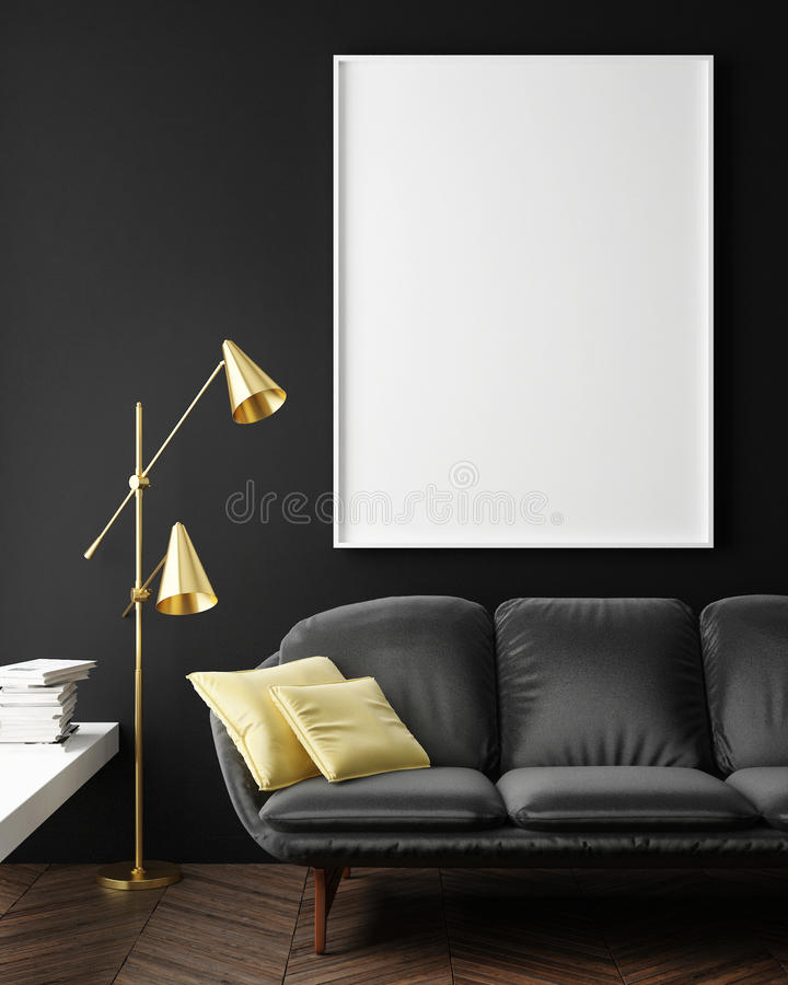 Download Mock Up Blank Poster On The Wall Of Hipster Living Room Stock Illustration