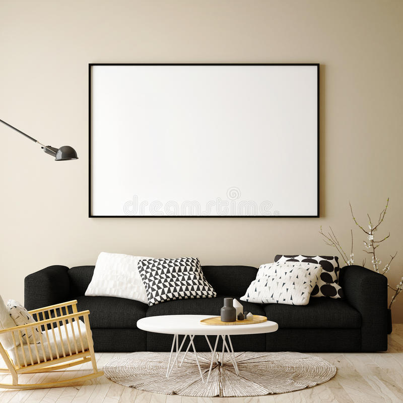 Mock up blank poster on the wall of hipster living room, stock illustration